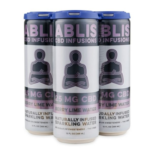 ABLIS Sparkling Berry Lime Water Cans 25mg/12oz CBD Beverage