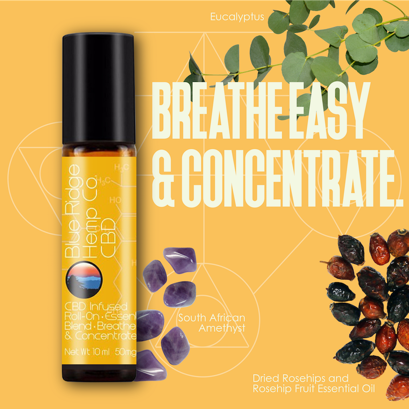 Roll-On Essential Oil Blend – Breathe Easy & Concentrate (10ml) 50mg CBD/bottle