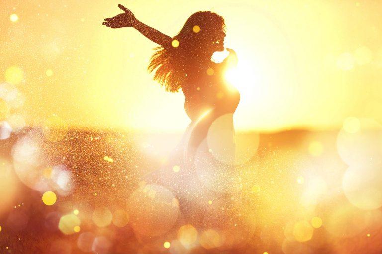 summer sunset happy woman in field
