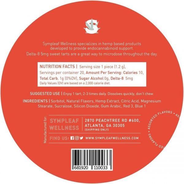 Delta 8 Sweet Tarts 5mg Nutrition label